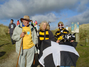 St Piran's Day on Perran Sands with Cornish Flag, Cornish Colours and the Cornish Rugby Shirt (right)